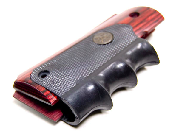 Details about Pachmayr 1911 Grip-Wood Grip Panels W/Rubber Finger  Grooves-423